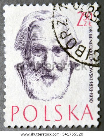 POLAND - CIRCA 1957: a postage stamp of Poland shows Dr. Benedykt Dybowski, Physician, Doctor - stock photo