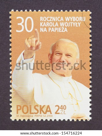 POLAND - CIRCA 2008: a postage stamp printed in Poland showing an image of pope John Paul II, circa 2008.  - stock photo