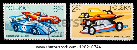 POLAND - CIRCA 1981: A set of postage stamps printed in POLAND shows historic cars, series, circa 1981 - stock photo