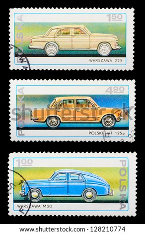 POLAND - CIRCA 1982: A set of postage stamps printed in POLAND shows historic cars, series, circa 1982 - stock photo