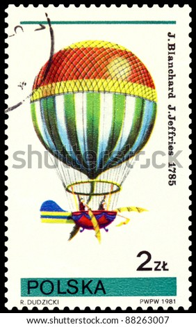 POLAND- CIRCA 1981: a stamp printed by Poland, shows  air-balloon  flown by  J. Blanchard, J. Jeffries. 1875, cirka 1981
