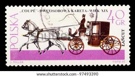 """POLAND - CIRCA 1965: a stamp printed by POLAND shows """"COUPE"""" Dwuosobowa kareta-weik XIX w J.Mille, series, circa 1965 - stock photo"""