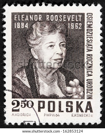 POLAND - CIRCA 1964: A stamp printed by POLAND shows image portrait of the first Lady Eleanor Roosevelt, circa 1964. - stock photo