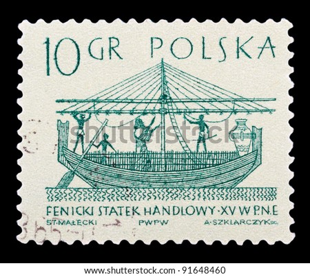 POLAND - CIRCA 1963: a stamp printed by POLAND shows Phoenician merchant ship, series, circa 1963