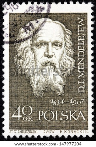 POLAND - CIRCA 1959: a stamp printed by POLAND shows Russian Chemist and Inventor Dmitry Mendeleev, circa 1959. - stock photo