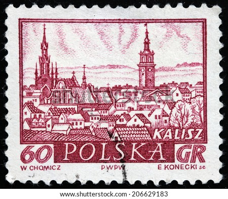 POLAND - CIRCA 1960: A stamp printed by POLAND shows view of Kalisz - a city in central Poland, the capital city of the Kalisz Region, circa 1960