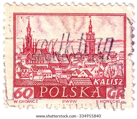 POLAND - CIRCA 1960: A stamp printed by POLAND shows view of Kalisz - a city in central Poland, the capital city of the Kalisz Region, circa 1960 - stock photo