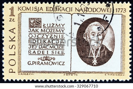 POLAND - CIRCA 1973: A stamp printed in Poland issued for the bicentenary of National Educational Commission shows Grzegorz Piramowicz and Title Page, circa 1973. - stock photo