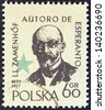 POLAND - CIRCA 1959: A stamp printed in Poland issued for the International Esperanto Congress, Warsaw and birth centenary of Dr. L. Zamenhof shows inventor of Esperanto Ludwig Zamenhof, circa 1959. - stock photo