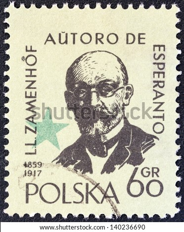 POLAND - CIRCA 1959: A stamp printed in Poland issued for the International Esperanto Congress, Warsaw and birth centenary of Dr. L. Zamenhof shows inventor of Esperanto Ludwig Zamenhof, circa 1959.
