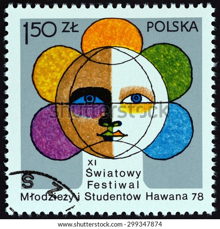 POLAND - CIRCA 1978: A stamp printed in Poland issued for the 11th World Youth and Students Festival, Havana shows Globe containing Face, circa 1978.  - stock photo