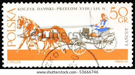 POLAND - CIRCA 1965: a stamp printed in Poland showing horses drawing carriage, circa 1965