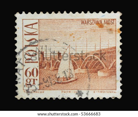 POLAND - CIRCA 1966: a stamp printed in Poland showing Warszawa bridge, circa 1966