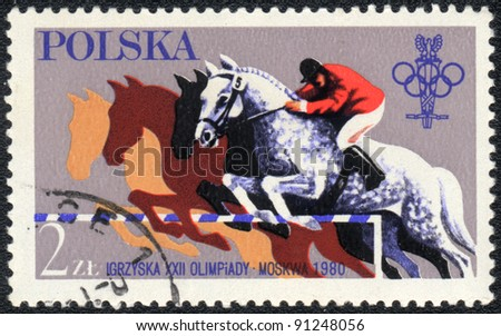 POLAND - CIRCA 1980: A stamp printed in POLAND  shows  a Olympic games in Moskow. Steeplechase, circa 1980 - stock photo