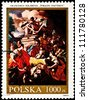 POLAND - CIRCA 1991:  A stamp printed in Poland shows a painting by Francesco Solimena of the Adoration of the Shepherds of the Virgin Mary and Jesus, circa 1991. - stock photo