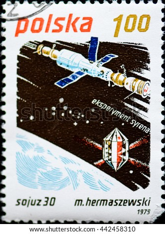 """POLAND - CIRCA 1979: A Stamp printed in Poland shows a series of images """"Space Exploration"""", circa 1979 - stock photo"""