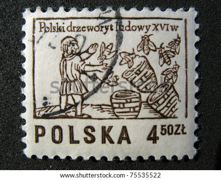 POLAND - CIRCA 1963: A stamp printed in Poland shows beekeeper, circa 1963