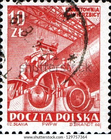 POLAND - CIRCA 1952: A stamp printed in Poland shows  Construction of Concrete Works, Wierzbica, Cement Works, circa 1952