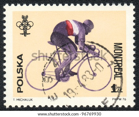 POLAND - CIRCA 1976: A stamp printed in POLAND shows Cycling - Olympic Games in Montrea, from series, circa 1983