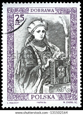 "POLAND - CIRCA 1986: A stamp printed in Poland shows engraving portrait of Dobrova, with the same inscription, from the series ""Polish Rulers"", circa 1986"