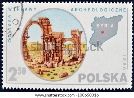 POLAND - CIRCA 1980: A stamp printed in Poland shows Expedition to Syria, circa 1980