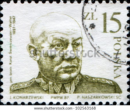 POLAND - CIRCA 1987: A stamp printed in Poland shows General Karol Swierczewski, He served as a general in the service of the Soviet Union, Republican Spain