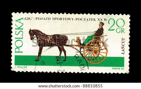 """POLAND - CIRCA 1965: A stamp printed in Poland shows """"GIG"""" Pojazd sportowy-poczatek XX w  J.Miller, circa 1965 - stock photo"""