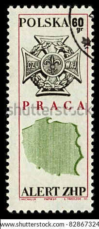 POLAND-CIRCA 1969:A stamp printed in POLAND shows image of Zwiazek Harcerstwa Rzeczypospolitej (Scouting Association of the Republic, ZHR) is a Polish Scouting organization, circa 1969. - stock photo