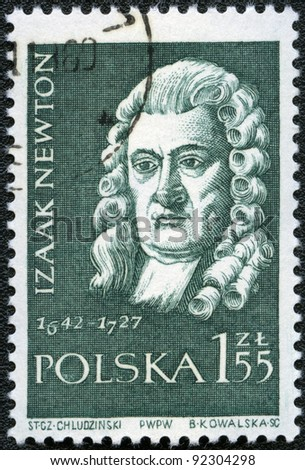 POLAND - CIRCA 1959: A stamp printed in Poland shows Isaac Newton (1642-1727), series, circa 1959 - stock photo