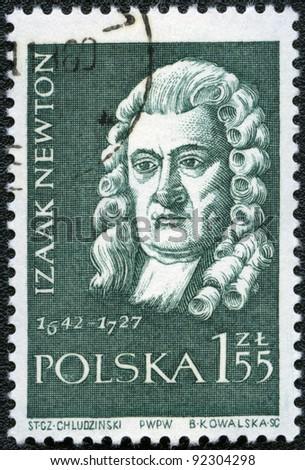 POLAND - CIRCA 1959: A stamp printed in Poland shows Isaac Newton (1642-1727), series, circa 1959 - stock photo