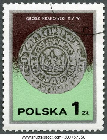POLAND - CIRCA 1977: A stamp printed in Poland shows King Kazimierz Wielki's Cracow groszy, 14th century, series Silver Coins, circa 1977 - stock photo