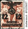 POLAND - CIRCA 1938: A stamp printed in Poland  shows King Wladyslaw II Jagiello and Queen Jadwiga after Hitler's seizure of Poland in 1940 on stamp is made overprint with the words General Government - stock photo