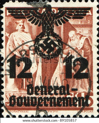 POLAND - CIRCA 1938: A stamp printed in Poland  shows King Wladyslaw II Jagiello and Queen Jadwiga after Hitler's seizure of Poland in 1940 on stamp is made overprint with the words General Government