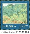 POLAND -CIRCA 1982: A stamp printed in Poland shows Map of Poland,  circa 1982. - stock photo