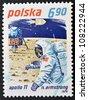 POLAND - CIRCA 1979: A stamp printed in Poland shows Neil Armstrong and Apollo 11, circa 1979 - stock photo