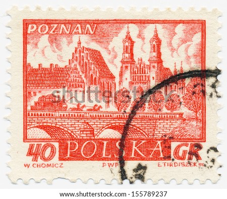 POLAND - CIRCA 1960: A stamp printed in Poland, shows Poznan, circa 1960