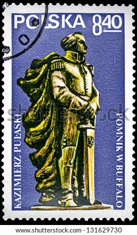 "POLAND - CIRCA 1979: A stamp printed in Poland shows Pulawski monument in Buffalo, with the same inscription, series ""Monument to Poles, who participated in American Revolution"", circa 1979"