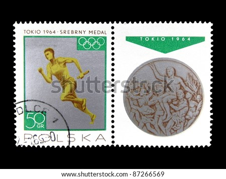 "POLAND - CIRCA 1965: A stamp printed in Poland shows Runner and Silver Medal with the inscription ""Tokyo 1964. Silver Medal"" from the series ""Medal Polish at the Olympic Games in Tokyo"", circa 1965"