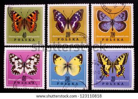 POLAND - CIRCA 1967: A stamp printed in Poland shows six kinds of butterflies in different colors,circa 1967 - stock photo