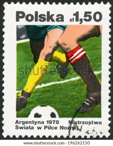 POLAND - CIRCA 1978: A stamp printed in Poland shows Soccer, dedicated the 11th World Cup Soccer Championships, Argentina, June 1-25, circa 1978 - stock photo