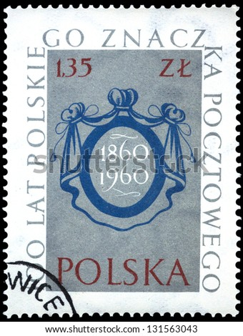 "POLAND - CIRCA 1960: A stamp printed in Poland shows Stamp Design from 1860 issue, with inscription and name of series ""Centenary of Polish stamps"", circa 1960"
