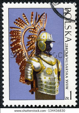 POLAND - CIRCA 1973: A stamp printed in Poland shows the armor of the Polish cavalry, stamp from series of masterpieces of Polish Art, circa 1973 - stock photo