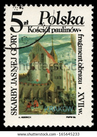 POLAND - CIRCA 1986: A stamp printed in Poland shows The Paulinite Church on Skalka in Cracow, oil painting detail, circa 1627, series Jasna Gora Monastery collection, circa 1986