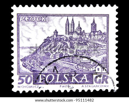 """POLAND - CIRCA 1960: A stamp printed in Poland shows view the main sights of the city in ancient times with the inscription """"Plock"""", from the series """"Historical cities of Poland"""", circa 1960 - stock photo"""
