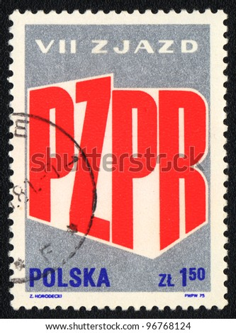 POLAND - CIRCA 1975: A stamp printed in POLAND shows VII Congress of the Polish United Workers' Party, from series, circa 1981