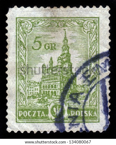 POLAND - CIRCA 1934: A stamp printed in Poland shows Warsaw City Hall, circa 1934