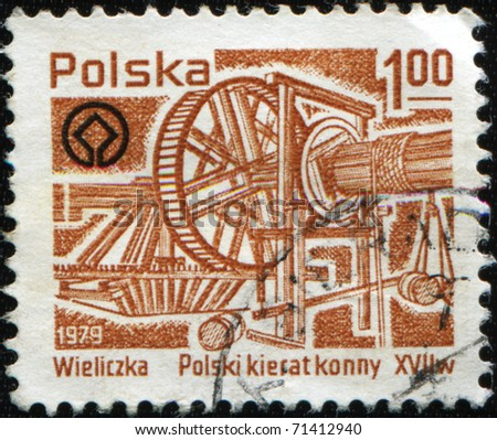 POLAND - CIRCA 1979: A stamp printed in Poland shows Wieliczka,  Polish horse treadmill, XVII cenchury, circa 1979
