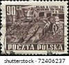 POLAND - CIRCA 1955: A stamp printed in Poland shows worker in coal mine, circa 1955 - stock photo