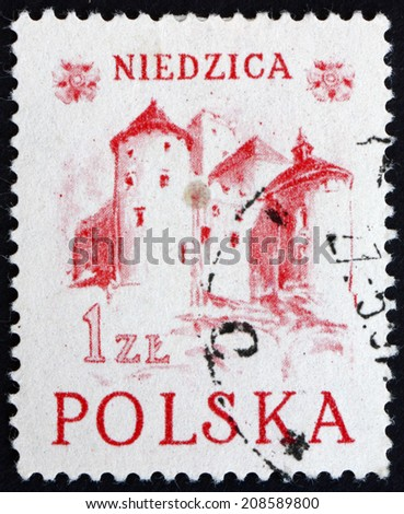 POLAND - CIRCA 1952: a stamp printed in the Poland shows Niedzica Castle, Historic Building from the Middle Ages in the Pieniny Mount, circa 1952 - stock photo