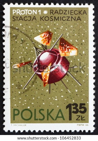 POLAND - CIRCA 1966: a stamp printed in the Poland shows Proton 1, USSR Satellite, circa 1966